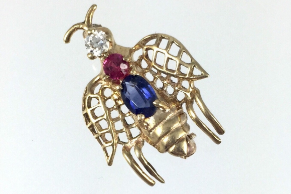 14K Gold Sapphire Ruby Diamond Bee Insect Bug Pin - Vintage 1940s