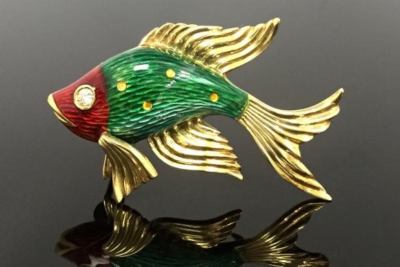 18K Italian Green Guilloche Enamel Fantail Fish Brooch - Vintage