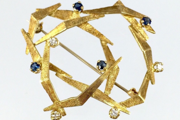 Israeli Mid Century Modernist 18K Gold Blue Sapphire Diamond Brooch