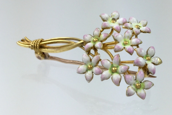Victorian 14K Pink Forget Me Not Bouquet Pin - 1860s Antique