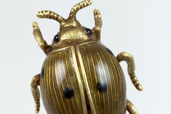 18K Yellow Gold Brown Enamel Lady Bug Brooch - Vintage 1960s Italian
