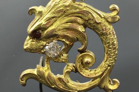 Victorian 14K Yellow Gold Merlion Lapel Watch Brooch Pin - 1870