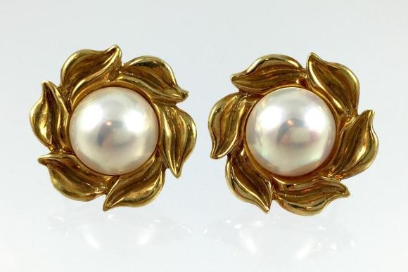 18K Gold Mabe Pearl Flower Earrings - Circa 1990 Fine Estate
