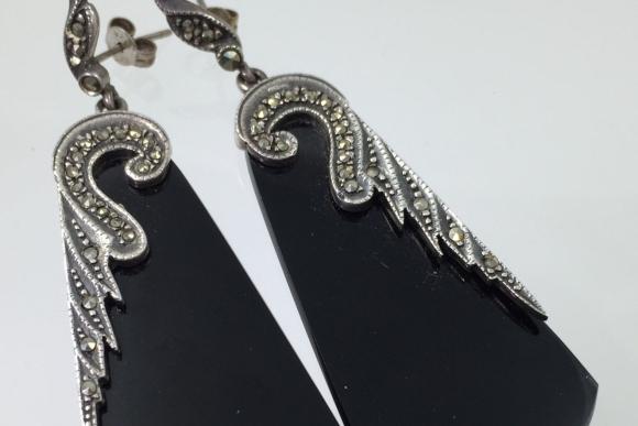 Art Deco Black Onyx & Marcasite Dangle Earrings - Sterling Silver 925