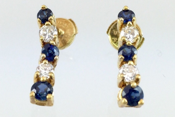 18K Sapphire & Diamond Dangle Earrings - Vintage Yellow Gold