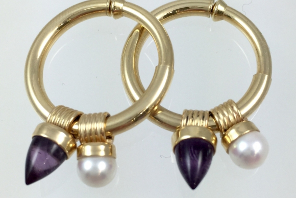 14K Gold Hoop Earrings with Charms - Vintage Amethyst & Pearl