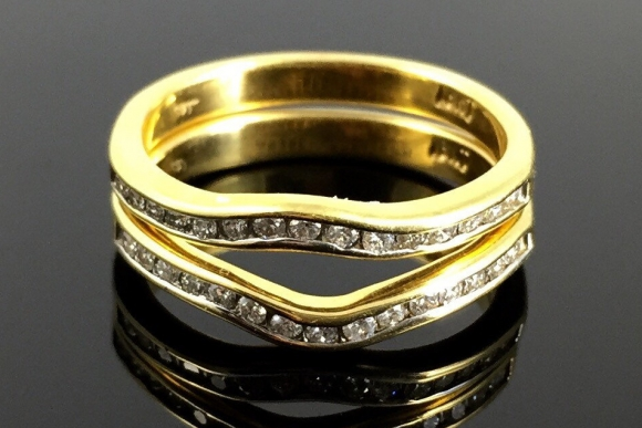 Matched Pair of Curved 18K Diamond Wedding Anniversary Bands