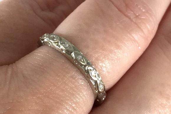 Art Deco 14K White Gold Diamond Eternity Ring - 1920s Vintage