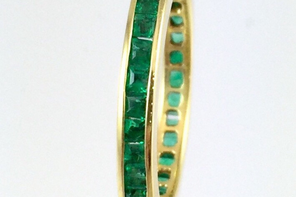 18K Gold Natural Emerald Eternity Band Size 6.5 - Anniversary Band