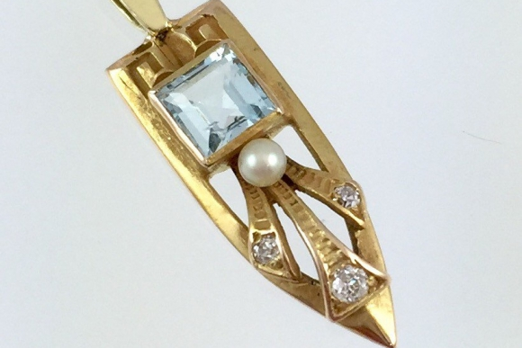 Art Deco Aquamarine Stick Pin Conversion Lavaliere Necklace