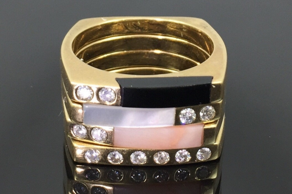 14k Gold Four Square Stacking Rings Vintage 1980s Diamond