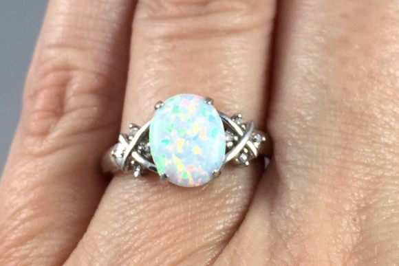 10K White Gold Opal and Diamond Ring - Vintage 1990s 10K White Opal
