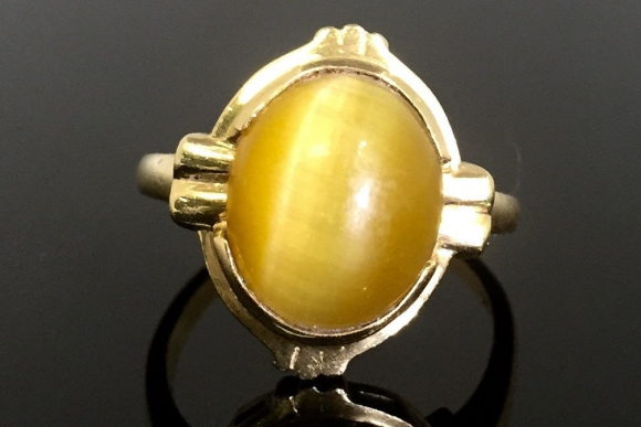14K Gold Cats Eye Chrysoberyl Ring - Vintage Estate Chrysoberyl