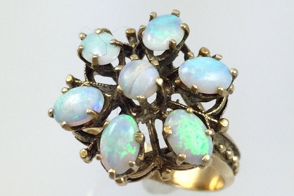 14K Australian Opal Cluster Ring - Vintage 1960s Yellow Gold Opal Snowflake