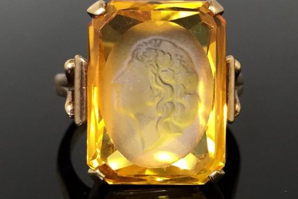 Victorian 10K Citrine Intaglio Ring - Vintage 1890s Antique Vintage 7+ carats