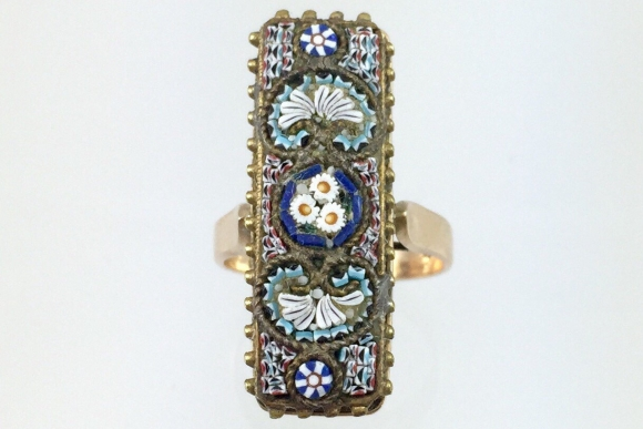 Antique Etruscan Revival French Glass Mosaic 14K Ring - Vintage 1880s