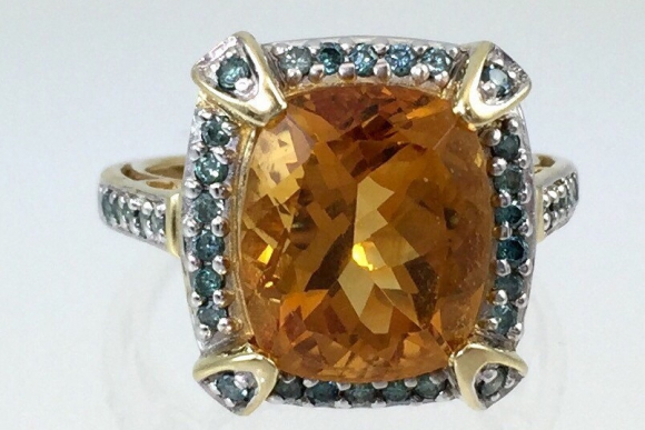 14K Gold Orange Citrine & Blue Diamond Fine Estate Ring - Six Carat