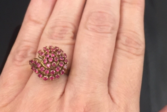 Retro 14K Ruby Cluster Swirl Ring - Vintage 1940s 14K Yellow Gold