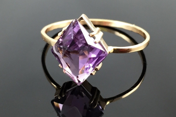 Victorian Amethyst Stick Pin Conversion Ring - Vintage 1800s