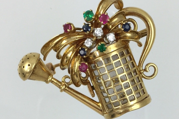 18K Gold Precious Gemstone Bucherer Watering Can Swiss Watch Brooch