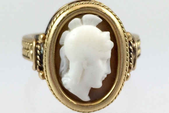 Antique Victorian 14K Cameo Ring - Vintage 1890s Roman Soldier Shell