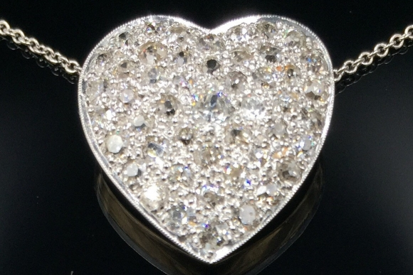 "Antique Platinum over Gold Diamond Pave Heart Pendant Necklace - Vintage 1900s 2 Ctw Old Mine Diamond Heart 14K 16"" Chain NCL3581"