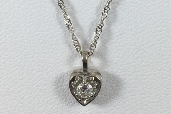 "14K White Gold Diamond Heart Pendant Necklace - Vintage 1950s .15 Ctw Diamond Heart 14K 16"" Chain NCL3583"