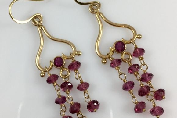 14K Pink Tourmaline Dangle Pierced Earrings ERG1009