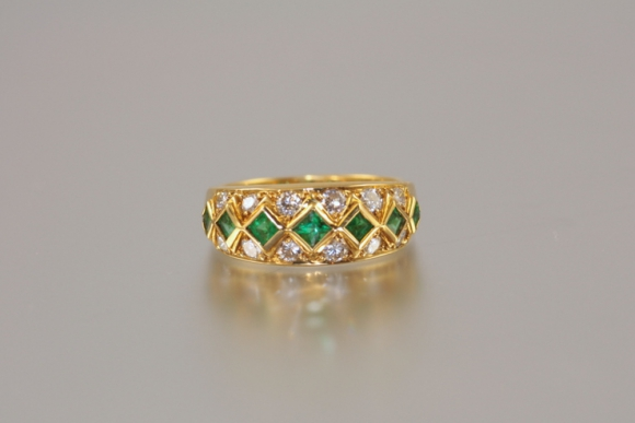 18K Emerald and Diamond Wide Band