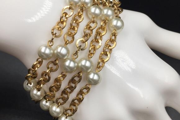 Gold Multi Chain Pearl Bracelet - Vintage 1980s Wide Faux Pearl Fashion Bracelet Extra Long