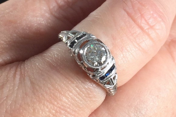 Art Deco Revival 14K Filigree Diamond Engagement Ring Size 5 RNG1233