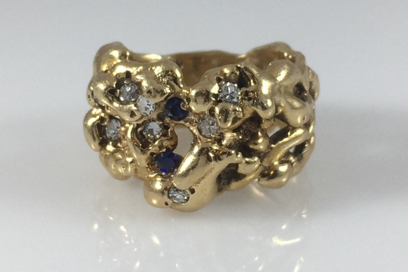 Charles Hopkins 14K Gold Organic Diamond Sapphire Ring, Vintage 1960s, Brutalist RNG1060