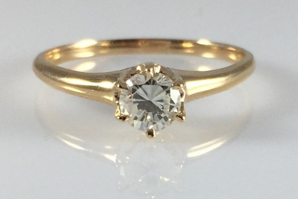 Antique Victorian Diamond Engagement Ring, .33 Carat Round Brilliant, 14K Yellow Gold RNG1010