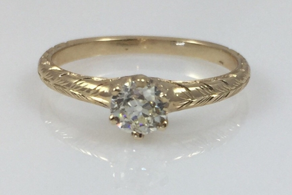 Antique Engagement, Victorian Diamond Ring, .40 Carat Old European Diamond Engagement,  SI1 J-K, 14K Yellow Gold Hand Engraved Ring
