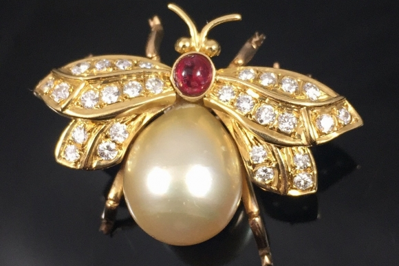 18K Diamond Pearl Ruby Bee Brooch, Honey Bee, Bumble Bee, 10MM Golden Pearl, Gold Insect Scatter Pin