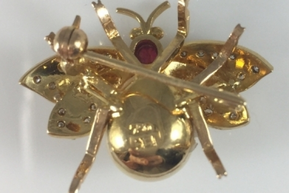 18K Diamond Pearl Ruby Bee Brooch, Honey Bee, Bumble Bee