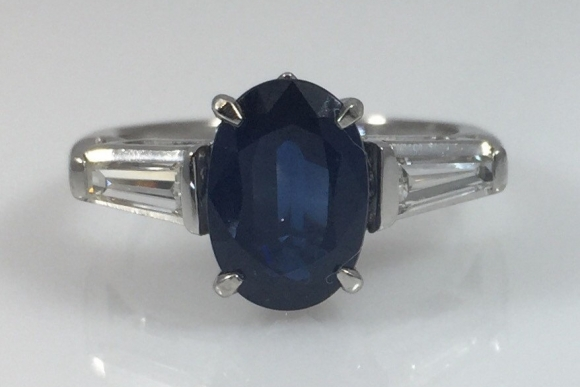 Platinum Sapphire Diamond Three Stone Ring