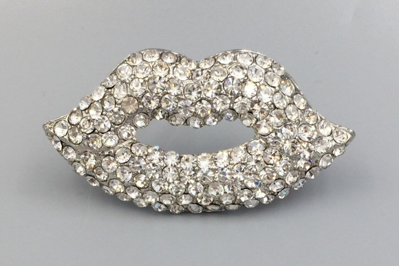 Rhinestone Hot Lips Brooch - Kiss Smile Lips Mouth Kitschy Funky Fun Brooch