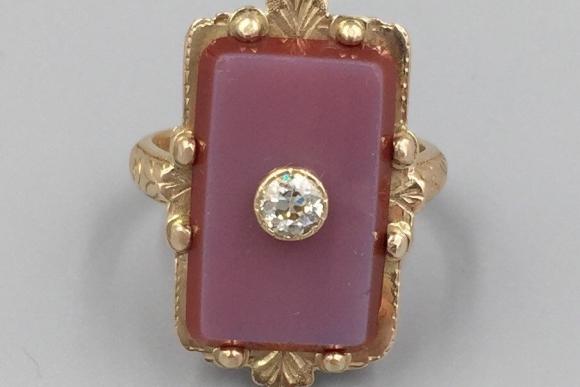 Antique Victorian 18K Carnelian Old European Diamond Ring - Circa 1917 Yellow Gold Hand Engraved