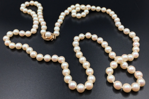 14K Gold Japanese Akoya Cultured Pearl Necklace - 6.5MM - 7MM Opera Length White Pearls
