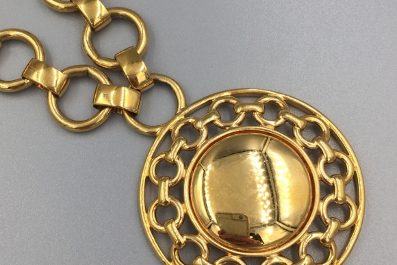 Monet Gold Medallion Pendant Necklace
