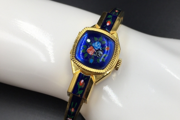 Ladies Blue Enamel Dress Watch - Jai 17 Jewels Swiss Made Mechanical Wind Up Covered Watch