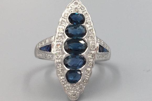 Art Deco Revival 14K Blue Sapphire & Diamond Ring