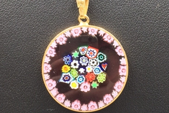 "Italian Venetian Millefiori Glass Medallion 26mm Pendant Necklace - Vintage Sterling Vermeil, Gold Filled Chain 18"" Long"