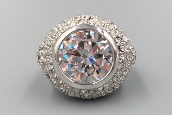 10 Carat Round Brilliant Cubic Zirconia Statement Ring