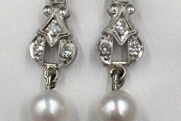 Art Deco 14K White Gold Diamond Pearl Earrings - Vintage 1920s