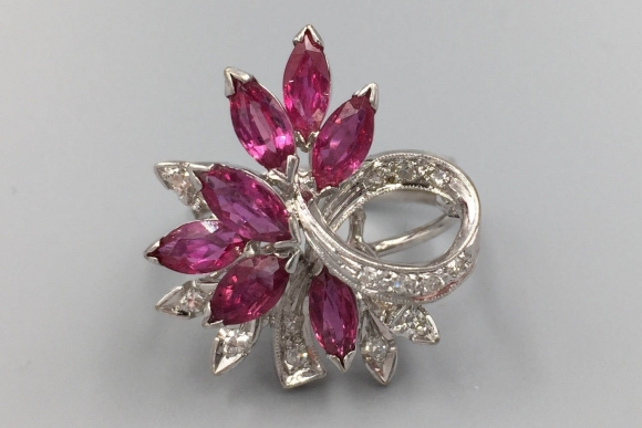 14K Natural Ruby Diamond Waterfall Spray Cocktail Ring - Vintage 1950s