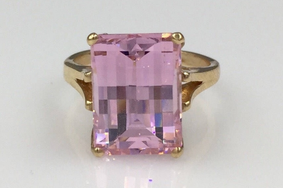 14K Pink CZ Ring - Vintage 9 Ct Fake Diamond Ring