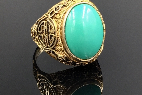 Silver Gilt Turquoise Adjustable Ring - Vintage 1920s Early Chinese Export