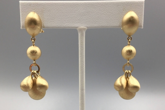 14K Gold Dangle Pierced Earrings with Omega Clip and Post